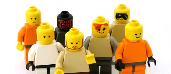 group of people with lego theme